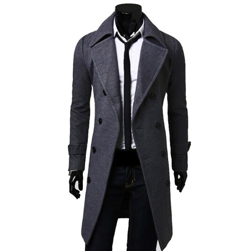 New Trench Coat Men 2019 Jacket Mens Overcoat Casual Slim Fit Windbreak Solid Long Coat Men Fashion Winter Coats Homme Plus Size