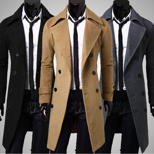 Coat Men Winter Long Coat Slim Stylish Trench Coat Double Breasted Long Jacket Parka Mens Overcoat
