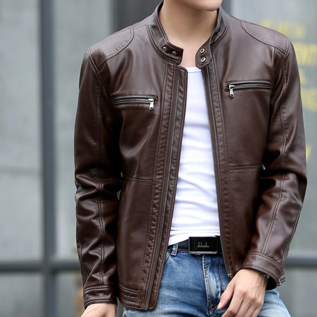 Mountainskin 5XL Men's Leather Jackets Men Stand Collar Coats Male Motorcycle Leather Jacket Casual Slim Brand Clothing SA010