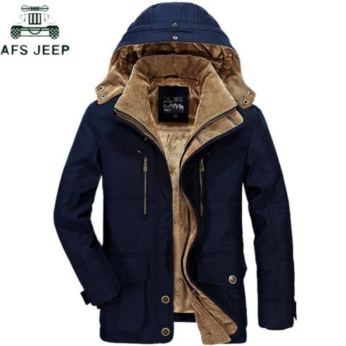 AFS JEEP Brand Thickening Hooded Winter Parkas men Plus Size 5XL 6XL Military Warm Fleece With Fur Parka Men Winter Jacket Men
