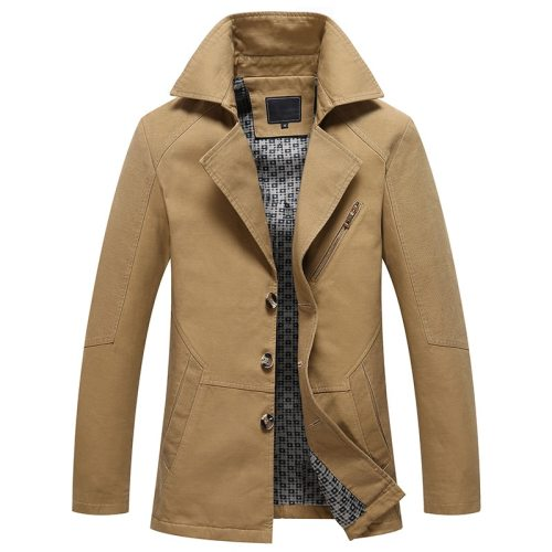 Men 2019 Spring New Business Casual Trench Coat Jacket Men Brand Fashion Long Sleeve 100% Cotton Solid Washed Trench Coat Men