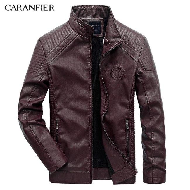 CARANFIER Mens Leather Jackets Autumn Winter PU Coat Men Plus Velvet Outerwear Biker Motorcycle Male Classic Black Jacket M-5XL