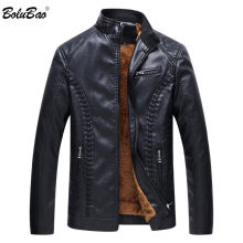 BOLUBAO New Winter Men Leather Jackets Men Motorcycle Keep Warm Leather jackets Fashion Brand Men's Fleece Leather Jacket Coat