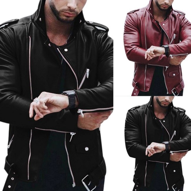 WENYUJH New Autumn Men's PU Leather Jacket For Men Fitness Fashion Male Suede Jacket Casaco Masculino Casual Coat Male Clothing