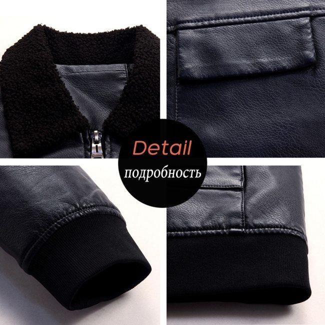 4XL Men 2019 Autumn Spring Casual Leather Jackets Coat Men Fashion Fleece Collar Motorcycle Leather Jacket Coats Men Plus Size