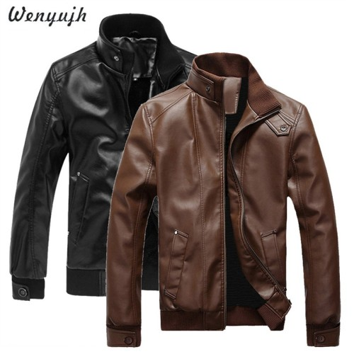WENYUGH 2019 New Fashion Autumn Male Leather Jacket Plus Size 3XL Black Brown Mens Stand Collar  Coats Leather Biker Jackets