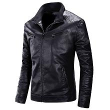 Men 2019 Autumn Motorcycle Causal PU Leather Warm Jacket Coat Men Spring Casual Masculinas Inverno Couro Jacket Overcoat Men 4XL