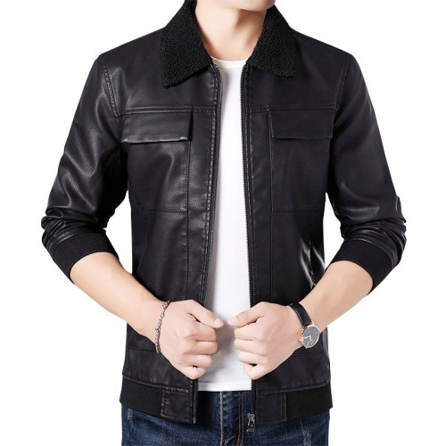 4XL Men 2019 Autumn Spring Casual Leather Jackets Coat Men Fashion Fleece Collar Motorcycle Leather Jacket Coats Men Plus Size