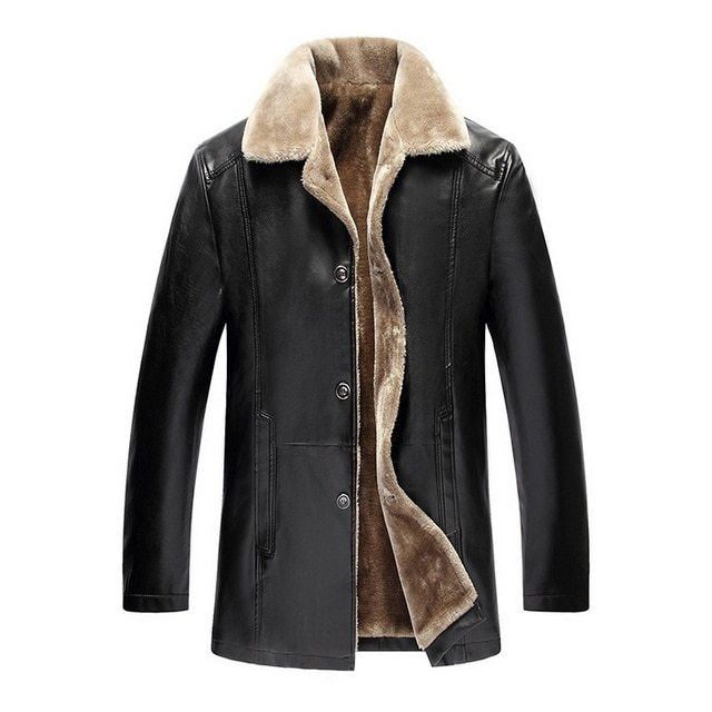 Winter Fur Leather Jacket Mens Plus Size 5XL Suede Leather Jackets Men Faux Fur Thick Warm Long Suede Jacket