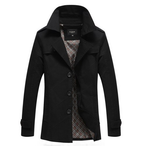 4XL Fashion Medium-Long trench men new spring autumn slim Fit Casual male pure color Pure jackets 4 Colors Windbreaker coat