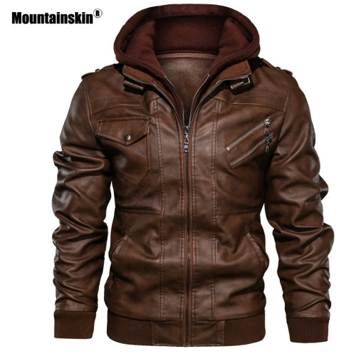 Mountainskin 2019 New Men's Leather Jackets Autumn Casual Motorcycle PU Jacket Biker Leather Coats Brand Clothing EU Size SA722