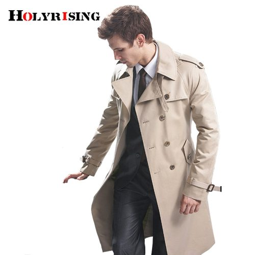 Trench Coat Men Classic Double Breasted Mens Long Coat  Mens Clothing Long Jackets & Coats British Style Overcoat S-6XL size