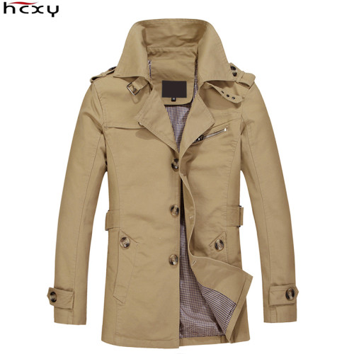 HCXY Brand 2019 Male Overcoat Long Jacket Coat Men Men's Trench Coat Trenchcoat Masculina Windbreaker Outwear Cotton Fabric