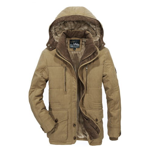 TIEPUS winter jacket men's thick warm multi-pocket middle-aged man hooded parks coat plus size 4XL 5XL 6XL Men's military coat