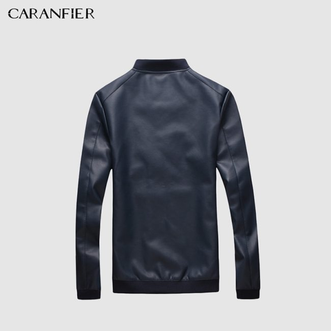 CARANFIER Mens Leather Jackets Men PU Faux Spring Fall Thin Coats Biker Punk Motorcycle Male Classic Jacket Stand Collar Zippers