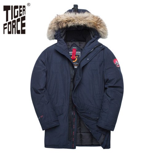 TIGER FORCE Alaska Winter Jacket for Men Parka Waterproof Warm Coat  Jackets with Real Fur Hood Thick Male Snowjacket Outwear