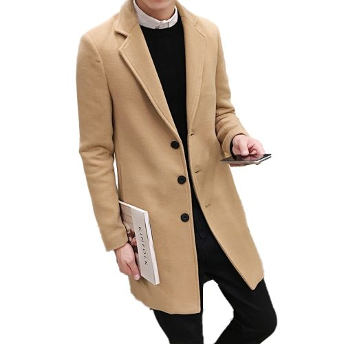 2019 Autumn and Winter New Men's Fashion Boutique Solid Color Business Casual Woolen Coats /  Male High-end Slim Leisure Jackets