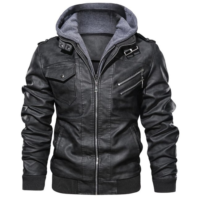 veste cuir homme Leather Jackets Men Autumn Winter Casual Hooded Coats Mens Motorcycle Biker Leather Jacket 4XL Jaqueta Couro