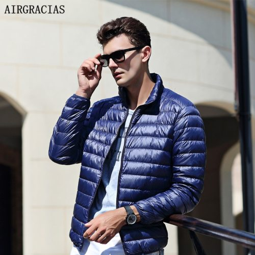 AIRGRACIAS 2019 Top Quality Men Down Jacket Light Thin 90% White Duck Down Jacket Men Parka Casual Outer coat Doudoune Homme