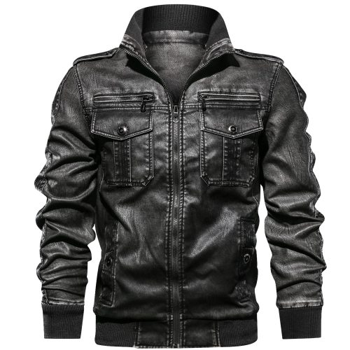 Men PU Jacket Fitness Leather   Jackets European size Dropshipping