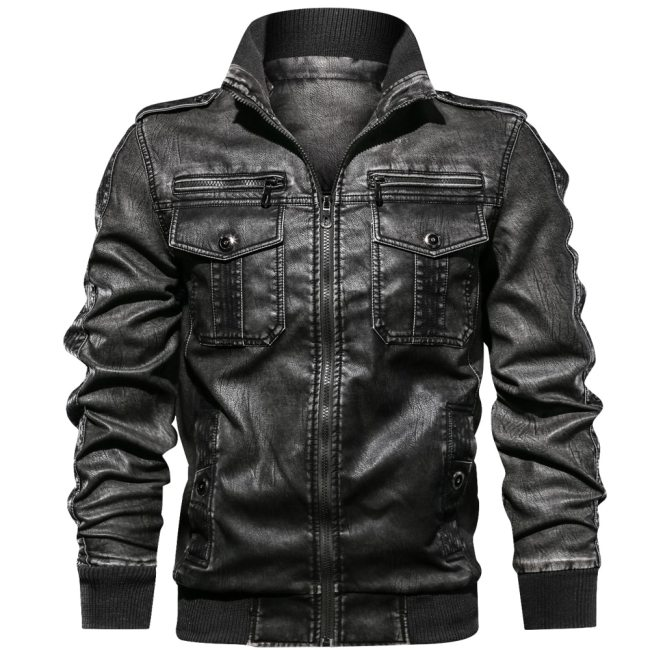 Men PU Jacket Fitness Leather   Jackets European size Dropshipping