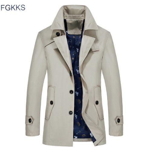 FGKKS Men Trench Jacket Autumn Men Fashion Brand Slim Fit Solid Color Lapel Long Overcoat Casual Trench Coat Male