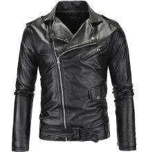 Spring Fashion Motorcycle Leather Jacket Men Slim Fit Oblique Zipper PU Jacket Autumn Men Leather Jackets Coats Black White