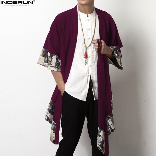 2019 Plus Size Men Fashion Long Outwear Shirts Chinese Style Vintage Half Sleeve Irregular Male Trench Stylish Casual Cloak Coat