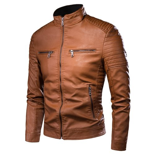 Men Autumn New Motorcycle Causal Vintage Leather Jacket Coat Men Outfit Fashion Biker Zipper Pocket Design PU Leather Jacket Men
