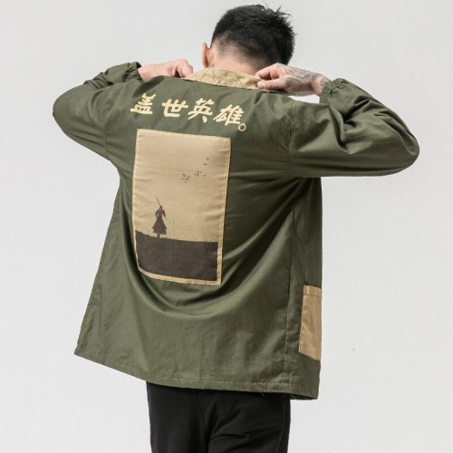 MRDONOO Windbreaker men's long section of the print personality shirt autumn loose retro Chinese style men's jacket tide JK15