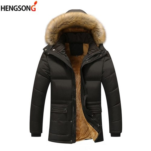 Plus Size 5XL Men Parka Coats New Winter Fleece Jacket Men Slim Thicken Hooded Fur Collar Outwear Warm Coat Top Brand Clothing
