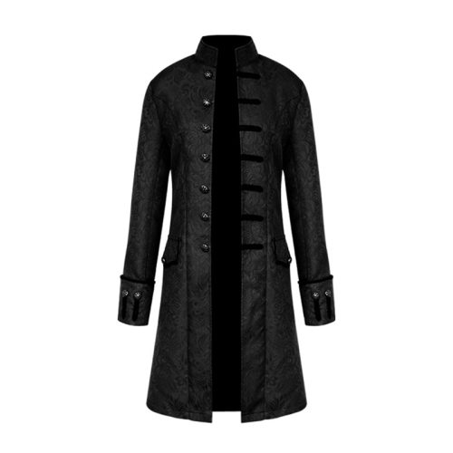 Men Steampunk Military Vintage Coat Stand Collar Single Breasted Solid Gothic Jackets Male Long Sleeve Slim Clothes Outerwear