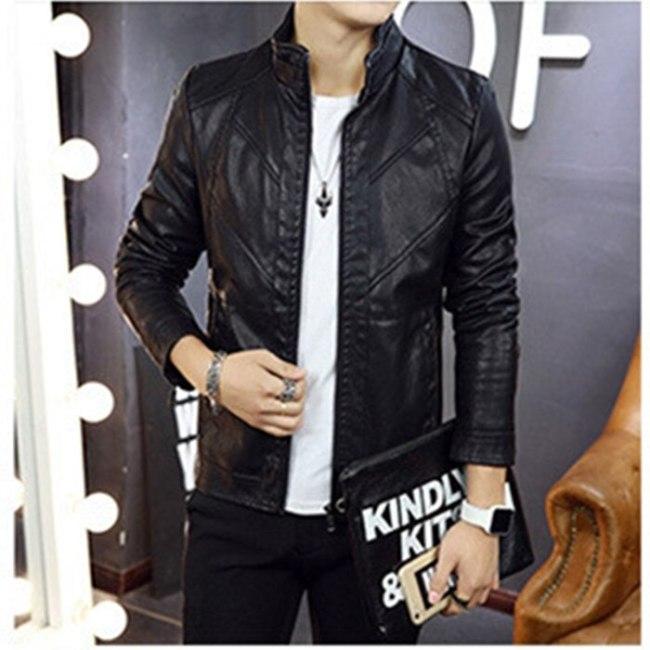 2018 Autumn New Fashion  Male Leather Jacket Slim Fit Coat Men Stand Collar PU Coats Leather Biker Jackets