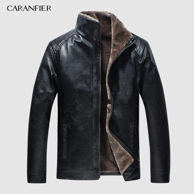 CARANFIER New Winter Motorcycle male Leather Jacket Men Windbreaker PU Jackets Male Outwear Warm PU Baseball Jackets Size 4XL