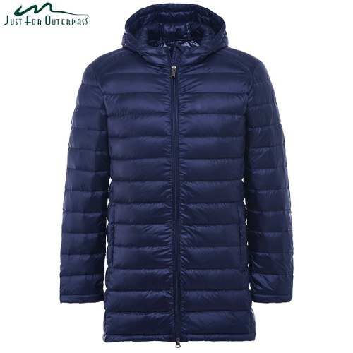 2019 New Men Ultra Light Down Jacket Spring Autumn Winter Long Down Coat Water Resistant Windproof Warm Duck Down Hooded Parkas