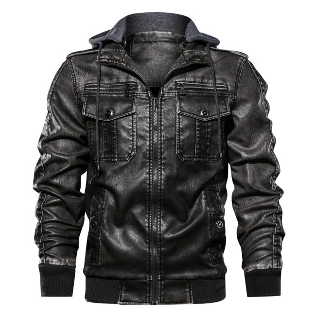 Men PU Military Jacket Casual Army Fitness Leather Coats Bomber Anti-Leather Jackets European size Dropshipping