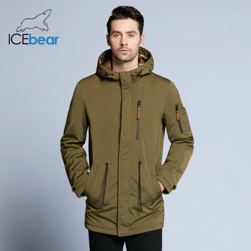 ICEbear 2019 Trench Coat For Men Adjustable Waist Hat Detachable Autumn Men New Casual Medium Long Brand Coats 17MC017D