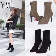 New Women Sock Boots Pointed Toe Elastic High Slip On Heel High Ankle Pumps Stiletto Botas Mujer High Boots Zapatos Muje 2018