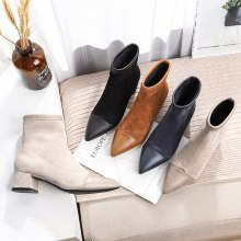 Women Boots Ankle Short Boots Flock Pointed Toe Square Heels Winter Plush Booties Woman 2019  Slip On Martin Boots Black Beige