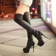 Taoffen Plus Size 33-46 Sexy Over Knee Thigh High Boots Women Autumn Winter Long Boots Shoes Women Platform Velvet Boots