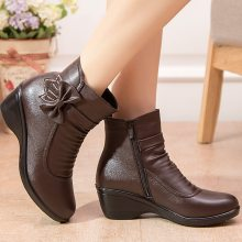 Booties woman 2019 new butterfly-knot ankle boots for women shoes winter boots short plush fashion zip female boot big size 41