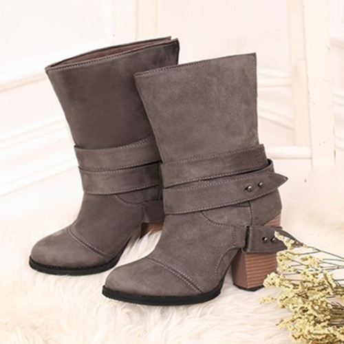 Women Boots Fashion round Toe Women winter Boots Comfortable Square Heel Flock Shoes Women Belt decoration Mid-calf Martin Boots
