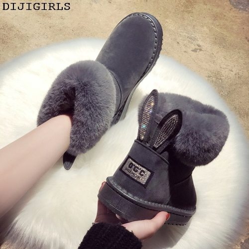 Women Boots Brand Winter Shoes Warm Black Round Toe Casual Plus Size Female Snow Boots