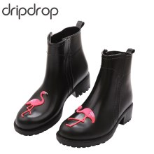 DRIPDROP Flamingo Rubber Rain Boots for Women Waterproof High Heel Fashion Girls Shoes Ladies Cute Short Ankle PVC Rainboots