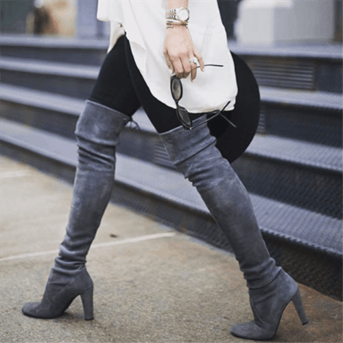 Adisputent Women Thigh High Boots Fashion Suede Leather High Heels Lace up Female Over The Knee Boots Plus Size Shoes 2019