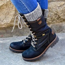 LOOZYKIT Winter Boots Women Basic Women Mid-Calf Boots Round Toe Zip Platform Decor Female Shoes Warm Lace Up Boots Shoes