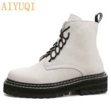 AIYUQI Martin Boots Female 2019 New Autumn British Wind Genuine Leather Thick With Short Boots Motorcycle Boots women shoes