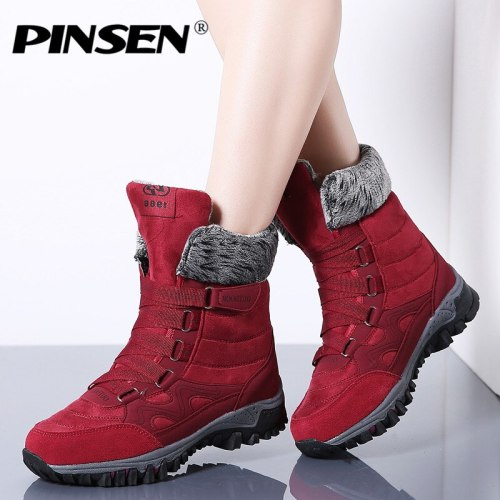 PINSEN 2019 New Women Boots High Quality Leather Suede Winter Boots Women Keep Warm Lace-up Waterproof Snow Boots Botas mujer