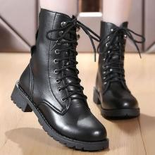 Ankle boots for women black large size 4.5-10 fleeces motorcycle boots increase comfortable leather boots women spring