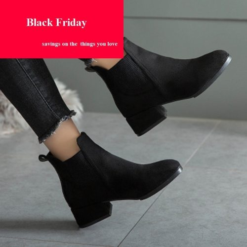 Oeak Autumn Winter Boots women Camel Black Ankle Boots For Women Thick Heel Slip On Ladies Shoes Boots Bota Feminina 36-41